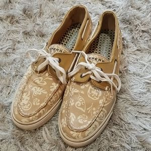 Sperry boat shoes floral print, size 10